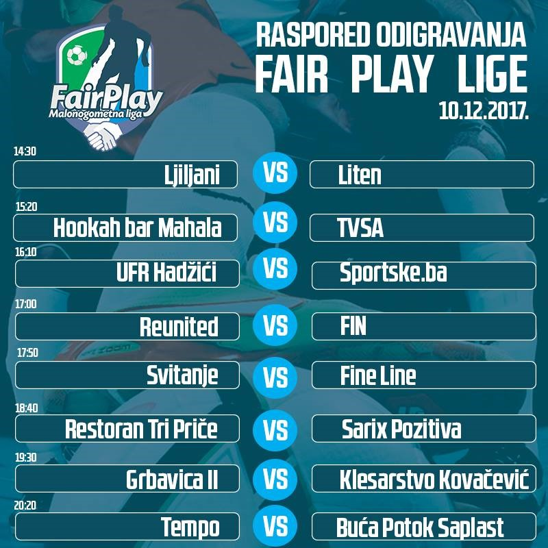 Treće kolo Fair Play lige – 10.12.2017 godine.
