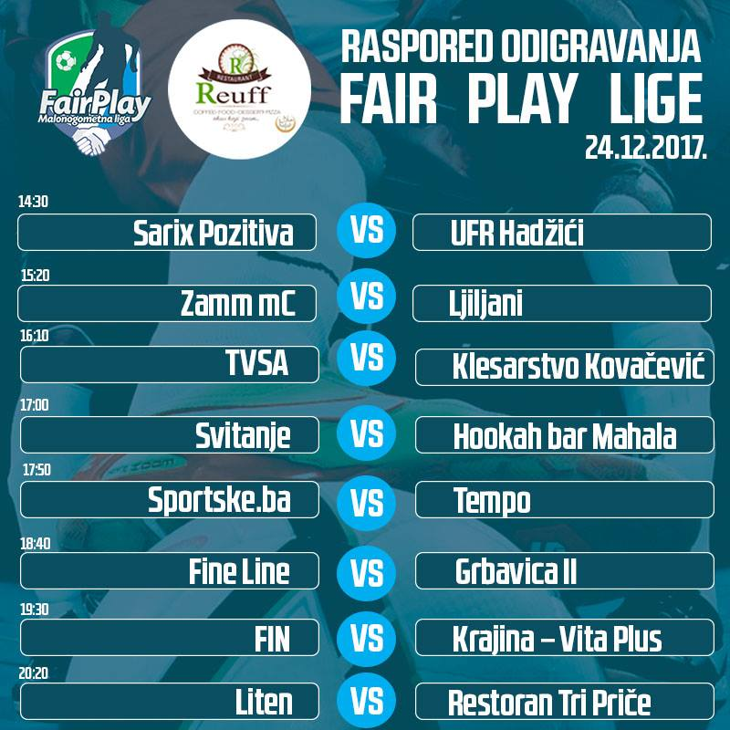 Treće i četvrto kolo Fair Play lige – 10.12.2017 godine.