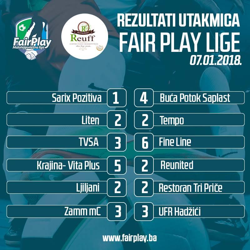 "6. sezona ""Fair Play"" lige/rezultati utakmica"