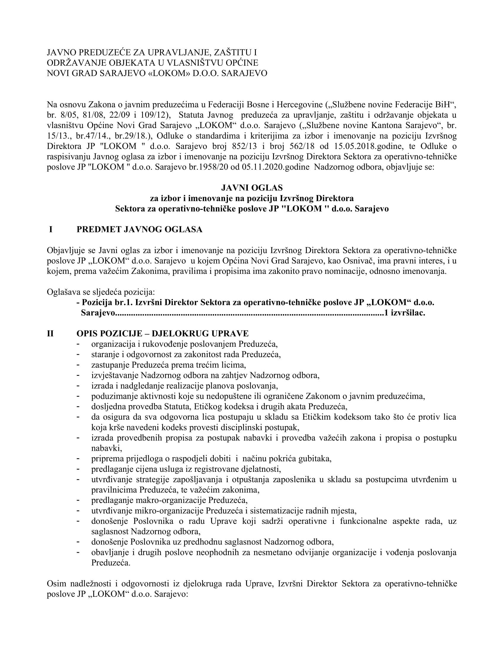 JO  Izvršni Direktor Sektora za operativno-tehničke poslove JP _LOKOM_ d.o.o.Sarajevo-1