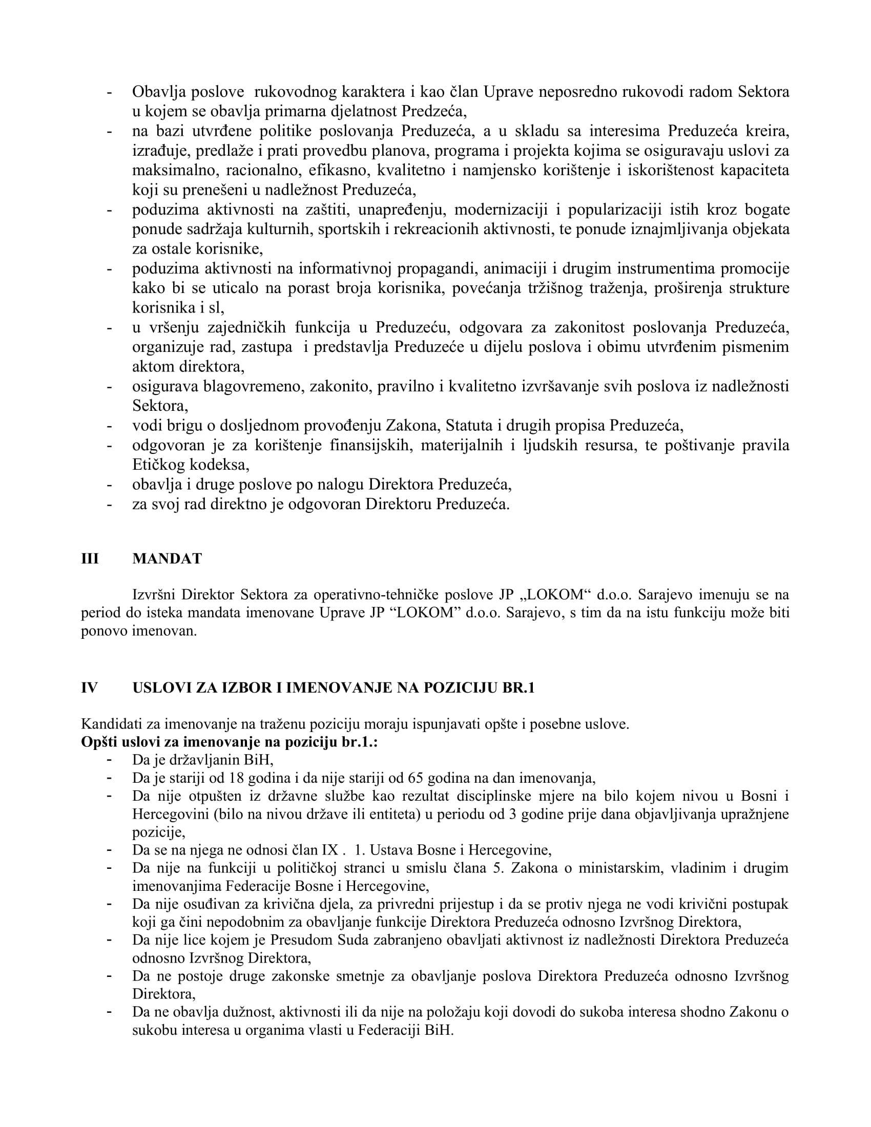 JO  Izvršni Direktor Sektora za operativno-tehničke poslove JP _LOKOM_ d.o.o.Sarajevo-2