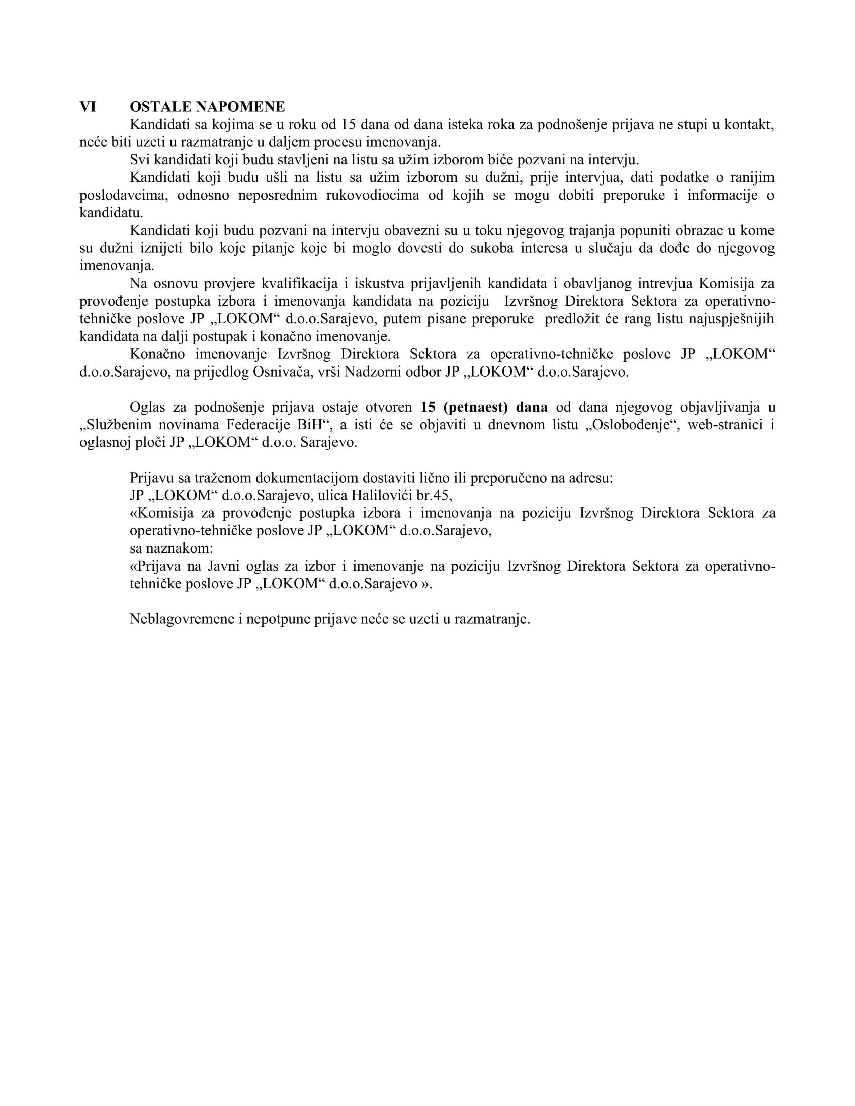 JO  Izvršni Direktor Sektora za operativno-tehničke poslove JP _LOKOM_ d.o.o.Sarajevo-4